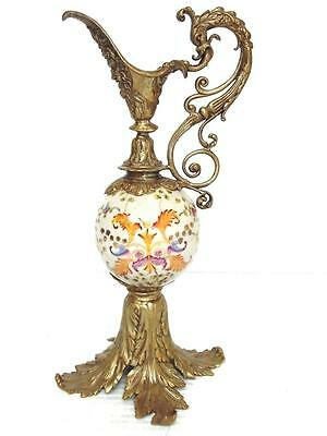 Decorative Victorian Style Bronze & Porcelain Ewer With Crazing