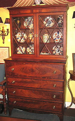 Antique American Federal Mahogany Secretary Bookcase Circa 1800