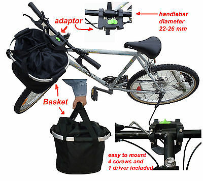 collapsible bike (bicycle) basket, strong aluminum frame and black fabric