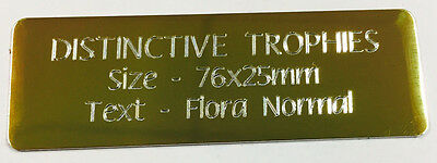 Personalised Machine Engraved Gold Metal Plate 76x25mm Nameplate Plaque