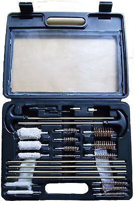 27 pcs universal gun cleaning kit, blow molded plastic case, transparent top