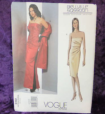 Vogue 2481 Bellville Sassoon Designer Gown Sewing Pattern Size 8-12 New Uncut