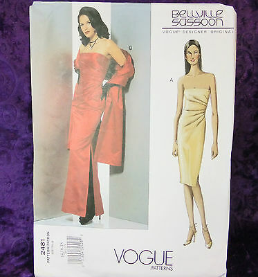 Vogue 2481 Bellville Sassoon Designer Gown Sewing Pattern Size 14-18 New Uncut