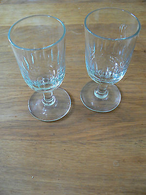 Antique Georgian Pair of Wine Glasses Goblet Perfect Condition Wedding Gift X2