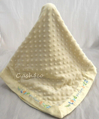 """Carters Just One Year minky dots yellow Love You A to Z baby Blanket 30"""" x 40"""""""
