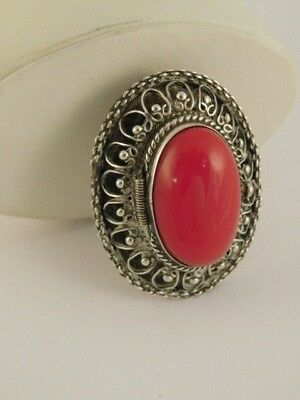 Sterling Silver Filigree Red Stone Brooch Pin Pendant Pill Box Mexico Erp Signed