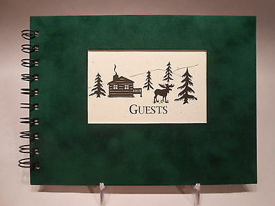 Rustic Lodge Sueded Cover GUEST BOOK Moose & Log Cabin Pattern