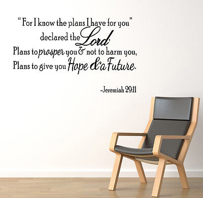 JEREMIAH 29:11 For I know the plans... Wall Art Decal Bible Verse Quote