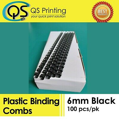 6mm Plastic Binding Combs Black 100/ Box