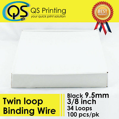 "9.5mm 3/8"" TWIN LOOP BINDING WIRE 3:1 Black 100/box"