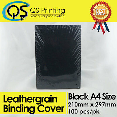 230gsm A4 Black Leathergrain Binding Cover 100 sheets / pack