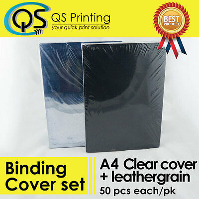 50 sets of 200 micron A4 PVC clear Cover + 230gsm A4 Black Leathergrain Cover