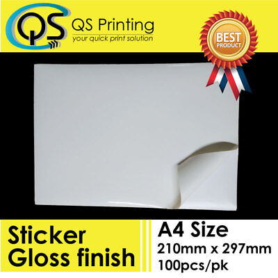 A4 Gloss Paper Self Adhesive Glossy Sticker Label for Laser printer 100 sheets