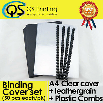 50 sets of A4 PVC clear Cover + A4 Black Leathergrain Cover + Binding Combs