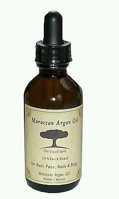 2 oz Organic 100 % Pure Moroccan Argan Oil Cold pressed for face, hair, nail