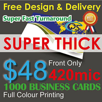 1000 Business Cards full colour Printing (Front Only) on 420mic paper+FreeDesign