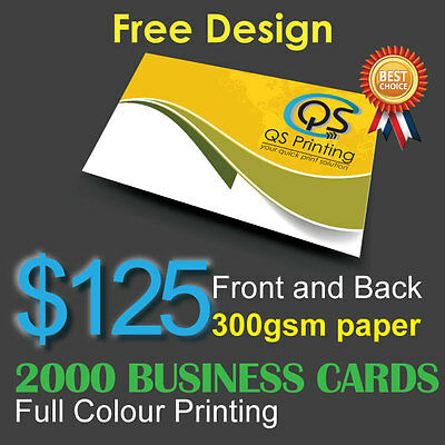 2000 Business Cards full colour Printing (Front&Back) on 300gsm paper+FreeDesign