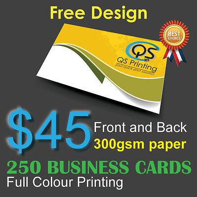 250 Business Cards full colour Printing (Front&Back) on 300gsm paper+FreeDesign