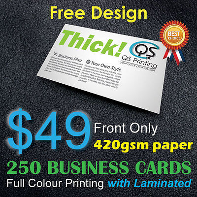250 Business Cards full colour Printing (Front Only) on 420gsm paper+FreeDesign