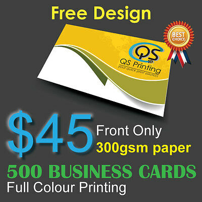 500 Business Cards full colour Printing (Front Only) on 300gsm paper+FreeDesign