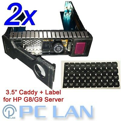 "2x 3.5"" LFF SAS SATA HDD Tray Caddy for HP G8 DL160 DL320e DL360e with Label"
