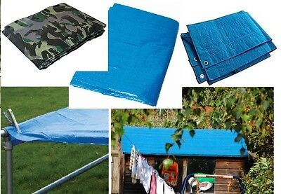 Blue Heavy Duty Tarpaulin Tarp Ground Sheet Waterproof Cover Camping Groundsheet