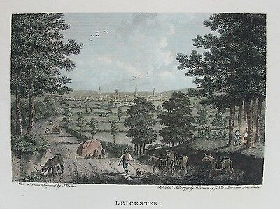 OLD PRINT LEICESTER CITY VIEW c1793 by WALKER / HARRISON ANTIQUE ENGRAVING