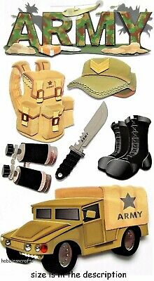 Ek Success Jolee's 3-D Stickers Jeep Backpack Combat Soldier Armed Forces  Army