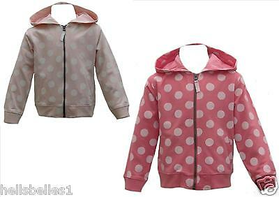 "Girl's Minoti ""fly8"" Spotted Hooded/hoody Zipper Top 12-18 18-24 Mth 2-3 3-4Yrs"