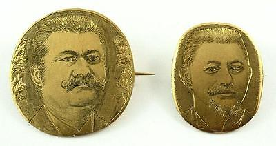 2 Superb Vintage Hand-Engraved Russian Miniature Portrait Gold-Plated Pins