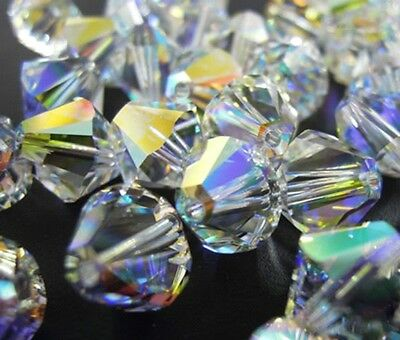 50pcs Swarovski ® 4mm AB Crystal Bicone Beads NEW 5328