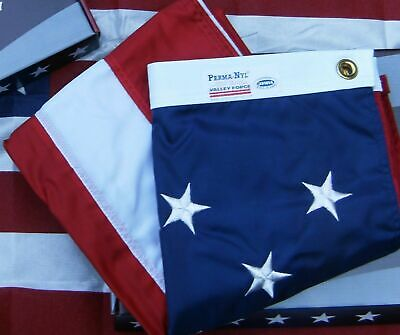 Valley Forge US American Flag 4'x6' sewn Perma- Nylon 100% Made in America USA