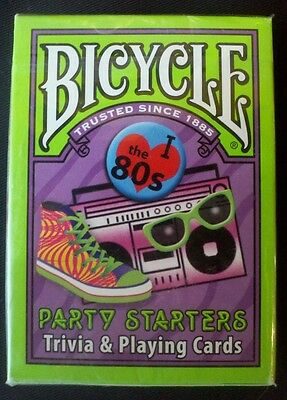 NEW BICYCLE PARTY STARTERS TRIVIA & PLAYING CARDS 80'S EDITION