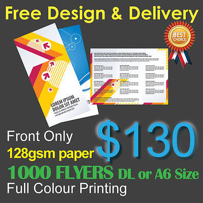 1000 Flyers Full colour printing (Front Only) on 128gsm paper+ Free Design&Post