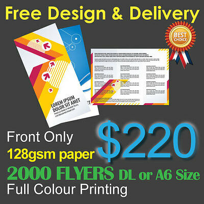 2000 Flyers Full colour printing (Front Only) on 128gsm paper+ Free Design&Post