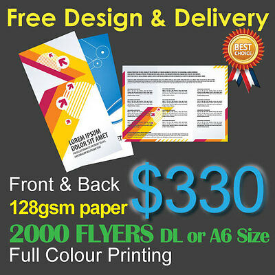 2000 Flyers Full colour printing (Front&Back) on 128gsm paper+ Free Design&Post