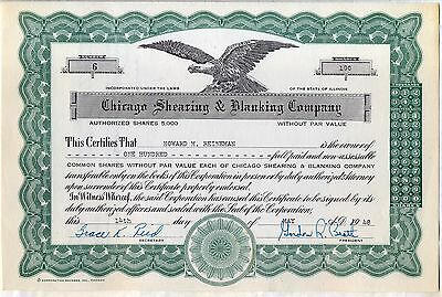 Chicago Shearing & Blanking Company Stock Certificate Illinois