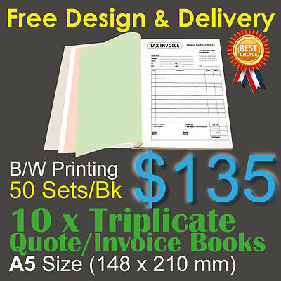 10 x A5 Customised Printed Triplicate QUOTE / Tax INVOICE Books+Free Design&Post