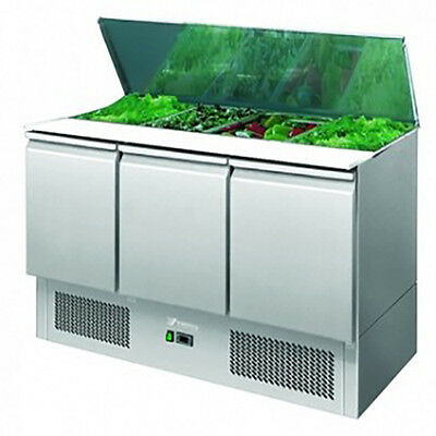Prep Counter Commercial Three Door Fridge/ Refrigerated Saladette Pizza