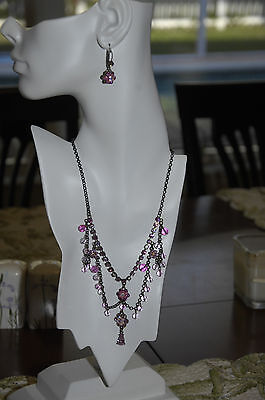 Antique Style Rose Pink Flower Swarovski Elements Crystal Floral Necklace Set