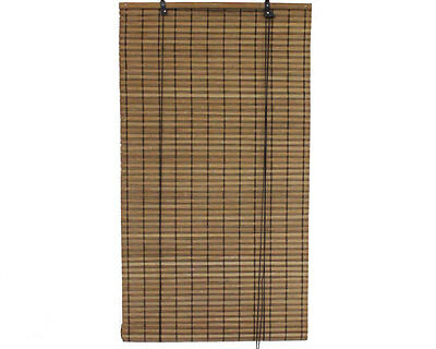 """2' x 6' 24"""" x 72"""" Brown Bamboo Slat Roll Up Blinds Window Shades Privacy Screen"""