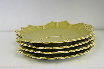 Stuebenville Woodfield Pottery Plates (4)-Leaf Toast, Snack, Sandwich Vintage