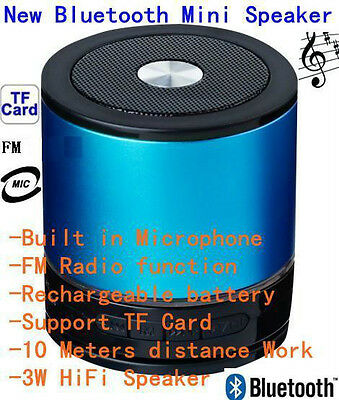 Bluetooth Wireless Speaker Mini Portable Super Bass for iPhone PC Samsung - Blue