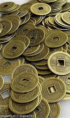 200x LOT Feng Shui Chinese Oriental Money I Ching Coin Lucky Charm Brass Metal A