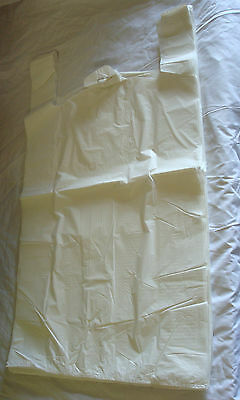 """1000 x White Carrier Bags 11""""x17""""x21"""" Take Away Carry Bags Shop Carrier Holders"""