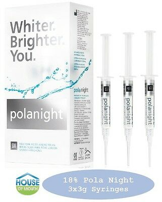 Teeth Whitening/Bleaching Syringes 18% Polanight 3 x 3gram Syringes FREE Bonuses