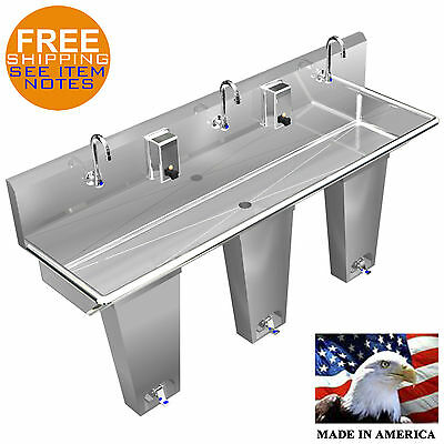 "Hand Sink 3 Station 60"" Single Pedal Valve Action With Columns Made In America"