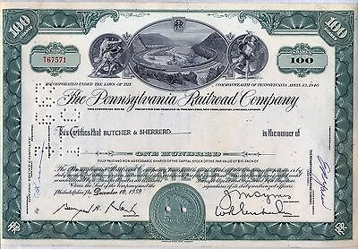 Pennsylvania Railroad Company Stock Certificate Horseshoe Curve Green Norfolk