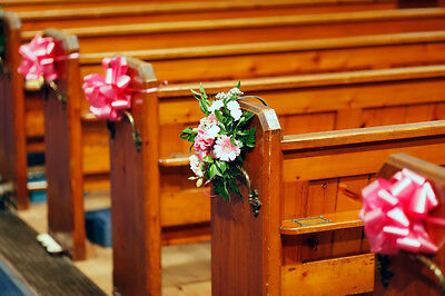 Large Pull Bows, Wedding Decoration, Church Pews, Top Table, Swag, Chairs, Decor