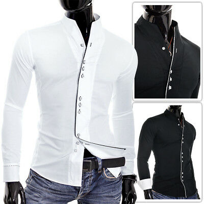 Mens Cotton Shirt Contrast Piping Collarless Long sleeve Casual Formal Slim Fit